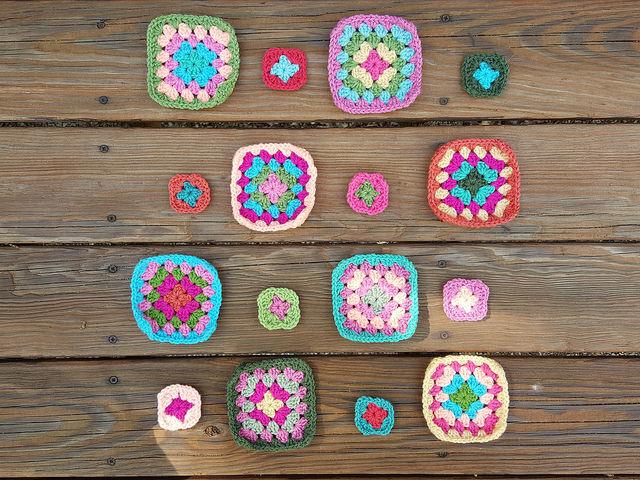 flamingo granny squares for a crochet purse