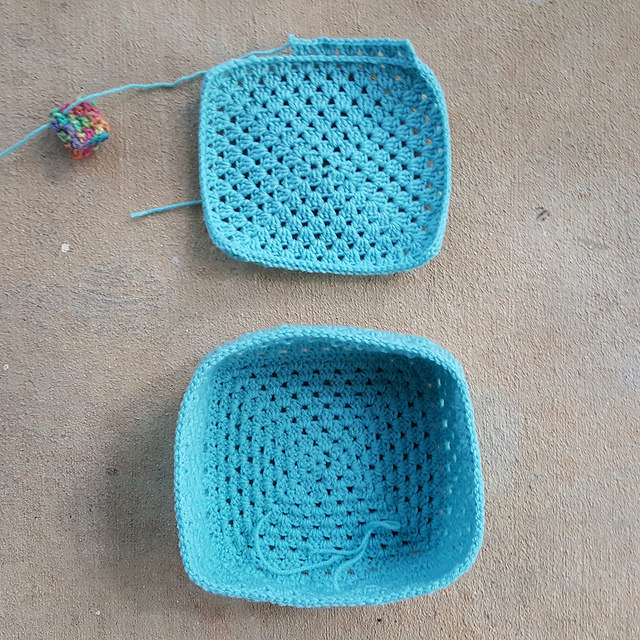 An overview of a crochet lunchbox-to-be