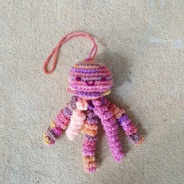 first completed crochet jellyfish amigurumi