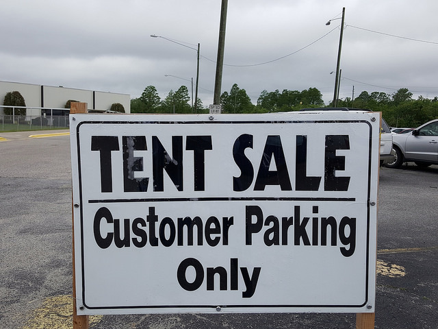 yarn tent sale parking lot