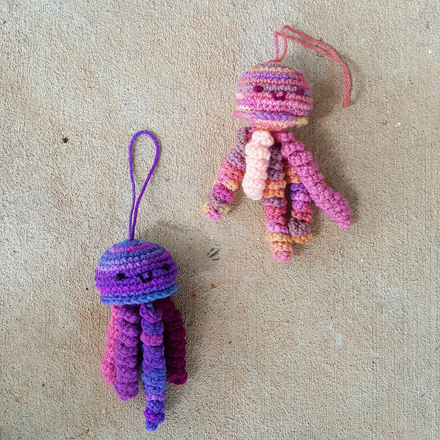 crochet jellyfish amigurumi made with variegated yarn