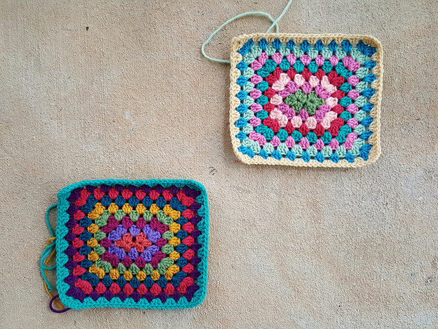 two crochet granny rectangles