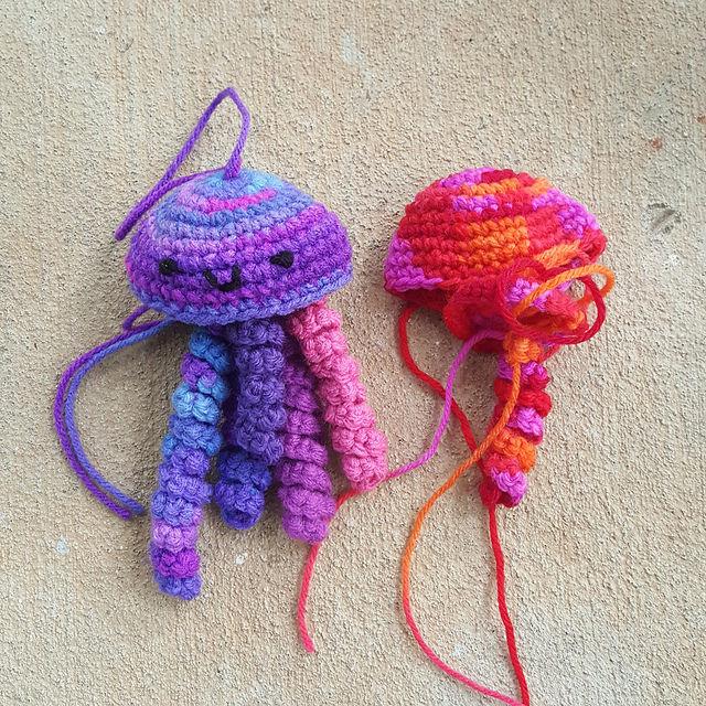 two crochet jellyfish amigurumi