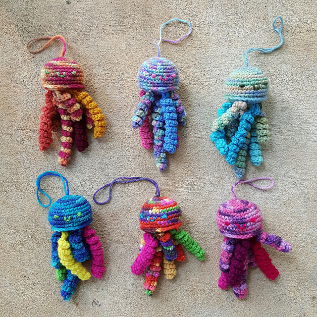 Another bloom of crochet jellyfish, evidence that my jellyfish fever continues