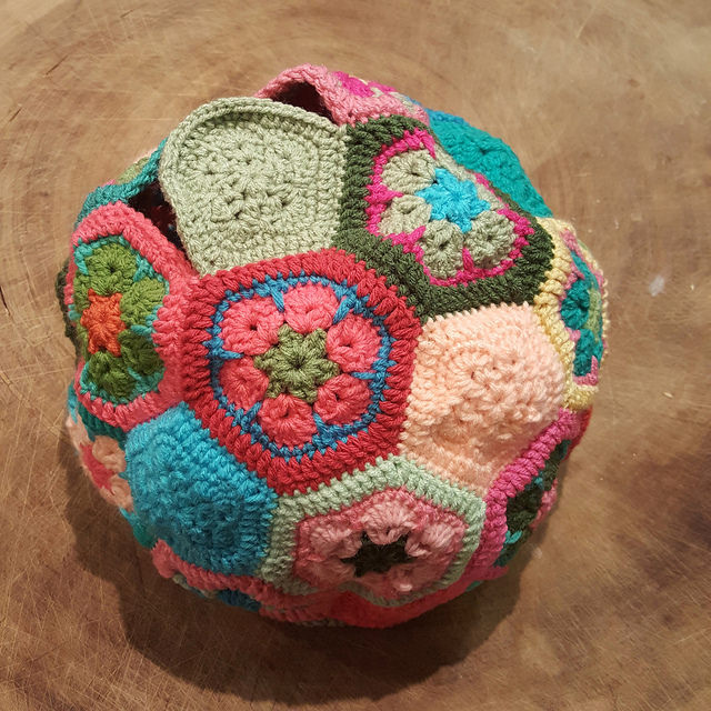 A crochet soccer ball in need of stuffing