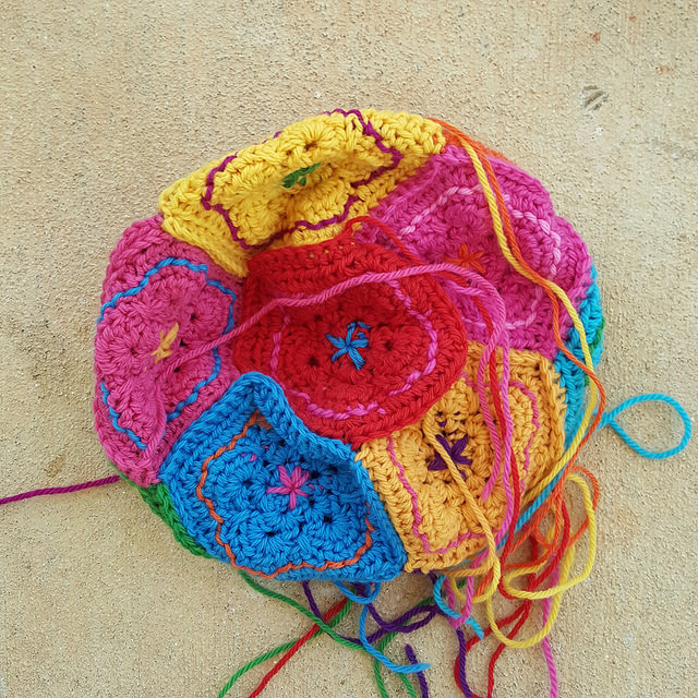 A wool dodecahedron pieced and with ends to be woven in