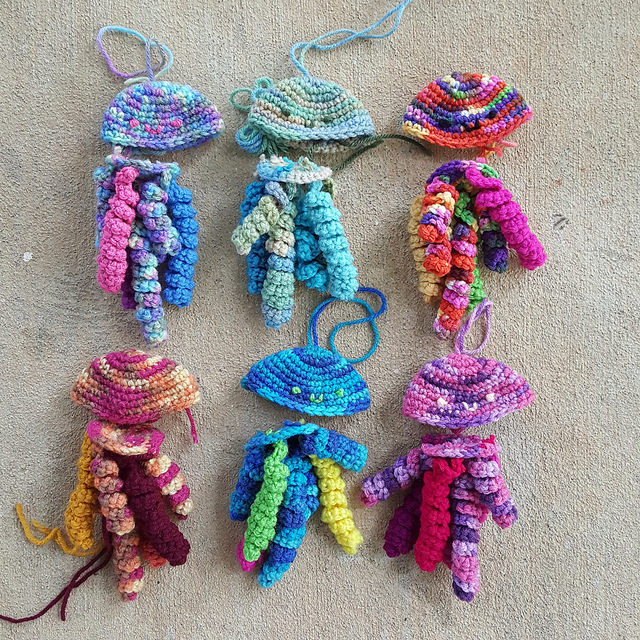 Six future crochet jellyfish, ready-to-go