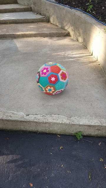 The crochet soccer ball, outside and looking for adventure