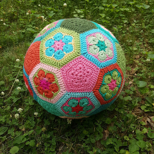 The crochet soccer ball, ready to play
