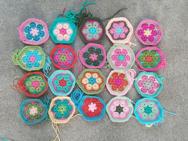twenty african flower crochet hexagon motifs for a crochet soccer ball
