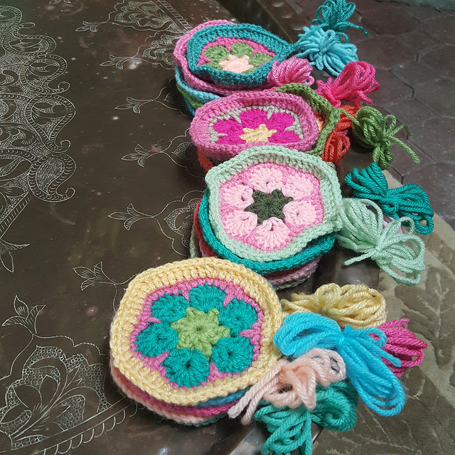 twenty african flower crochet hexagons ready for a crochet soccer ball