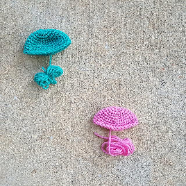 two crochet jellyfish bells