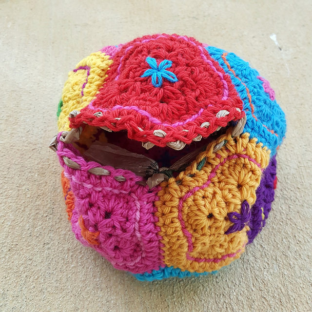wool crochet dodecahedron ready to felt