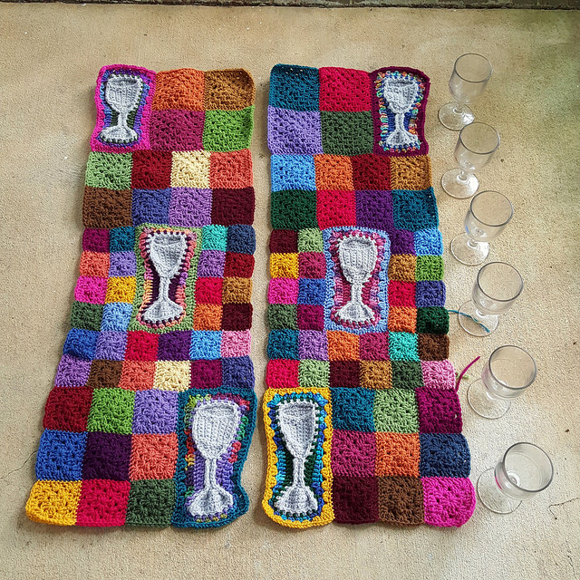 The water tumblers given to my grandmother by her grandmother and the crochet panels they inspired