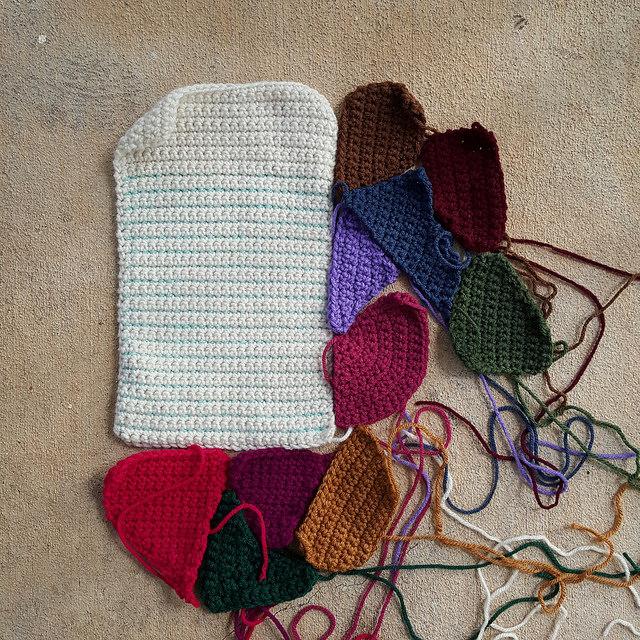 More crazy quilt crochet pieces