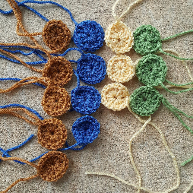 An assortment of one-round crochet granny squares