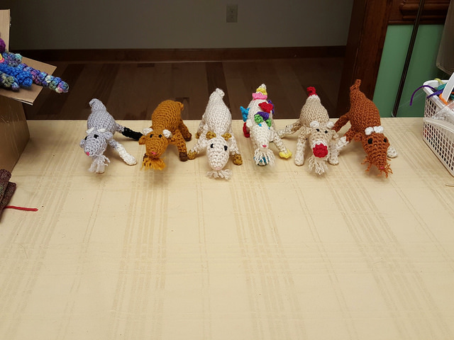 six crochet goats