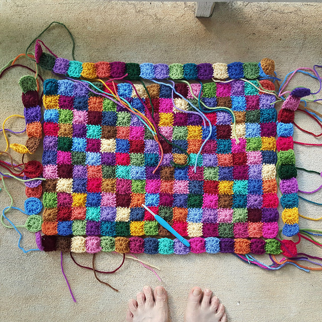 piecing crochet squares