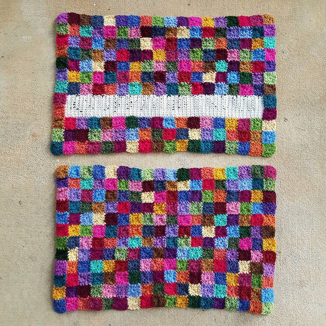 crochet panel with ends woven in and trimmed