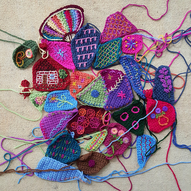crochet crazy quilt pieces