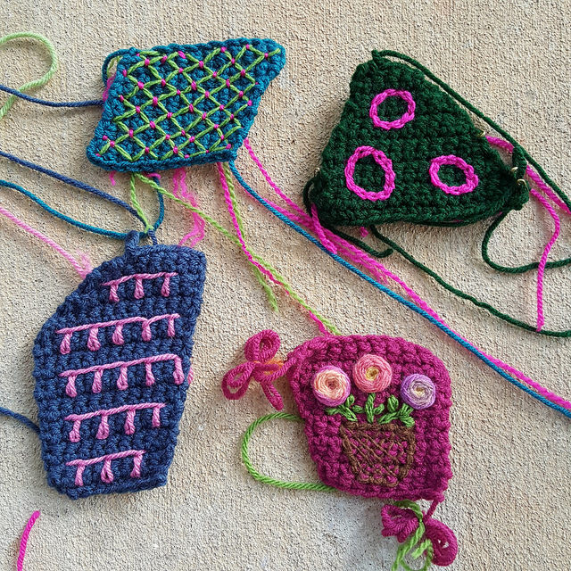 Embroidered crochet crazy quilt pieces