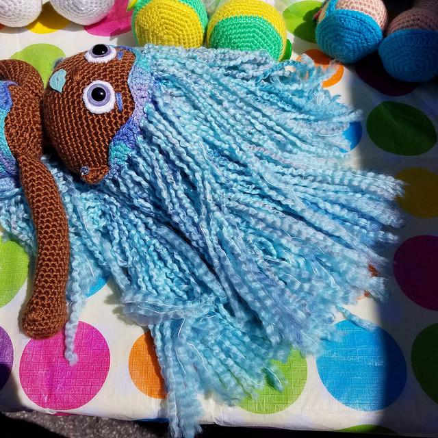 homespun hair for a crochet doll mermaid