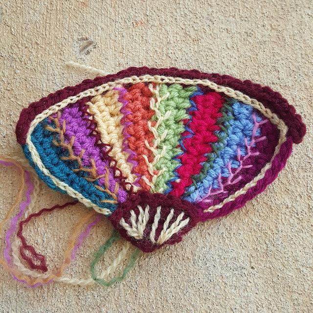 embroidered crochet fan