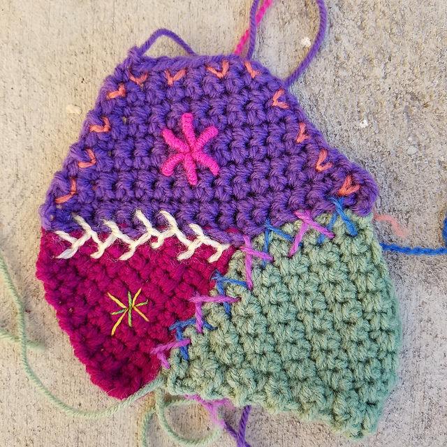 bullion stitch on crochet