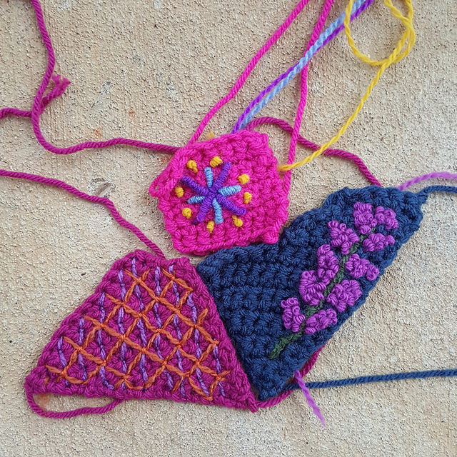three crochet crazy quilt pieces