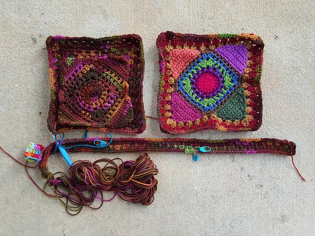 cherry cola granny square crochet bag