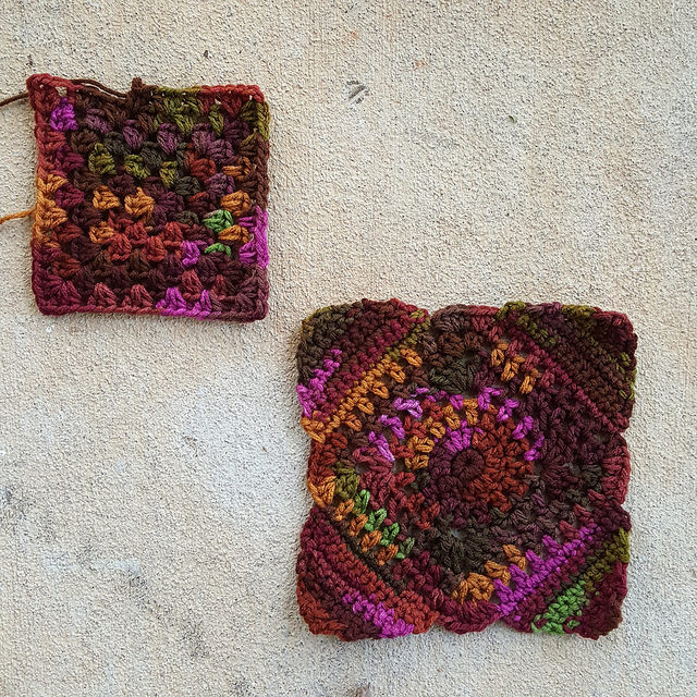 A half-double granny square and C-2 worked in cherry cola