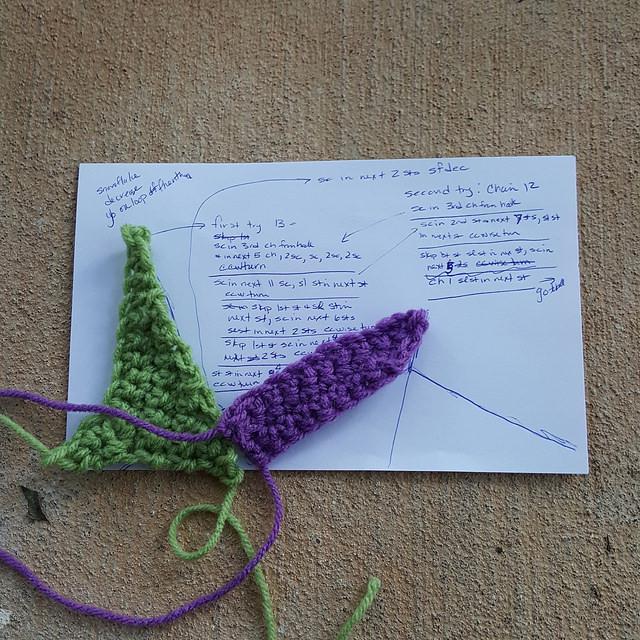 purple crochet crazy quilt piece