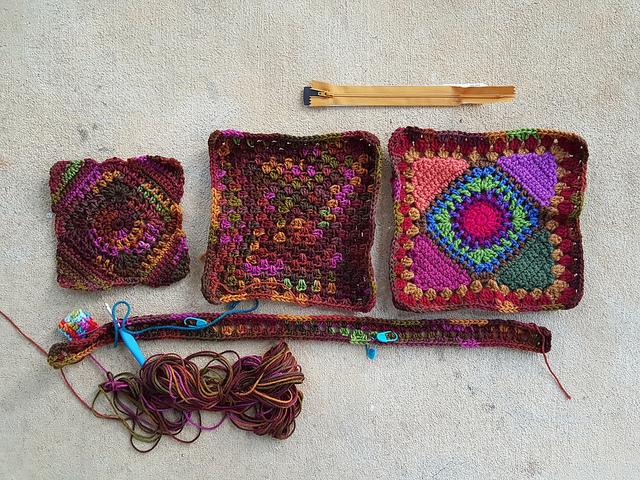 pieces for a granny square crochet bag