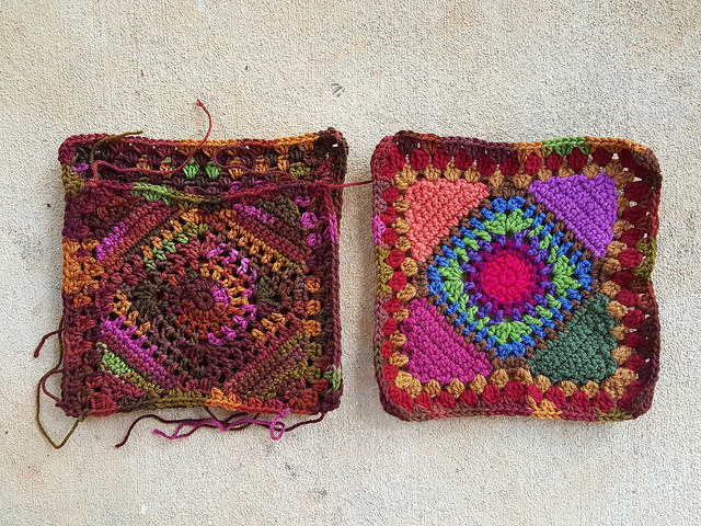 crochet purse granny square panels