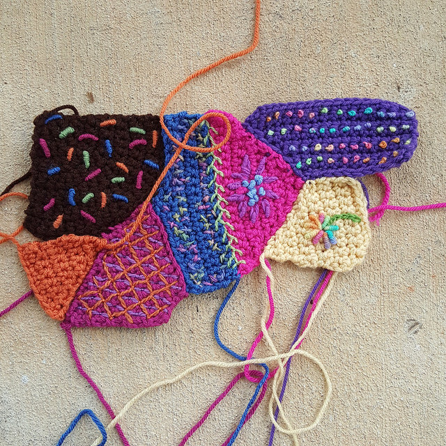 the piecing of crochet crazy quilt elements with embroidery