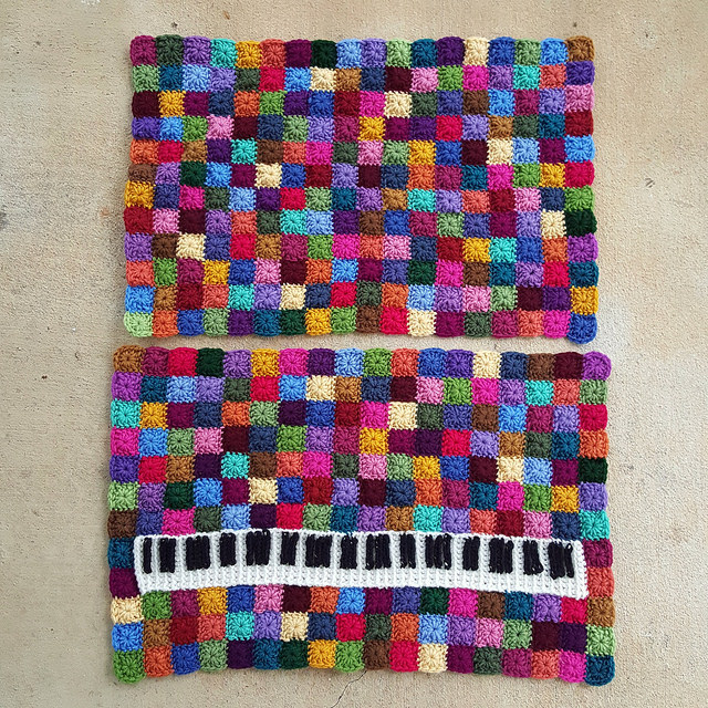 crochet panels composed of crochet squares
