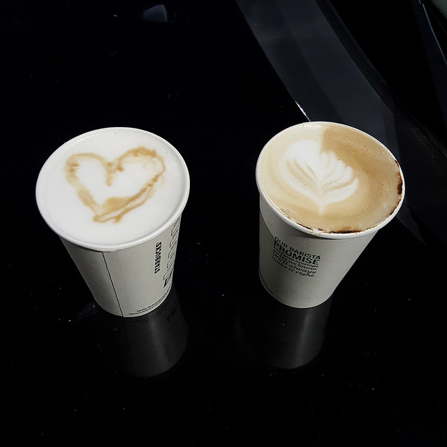 early morning coffee drinks from Starbucks