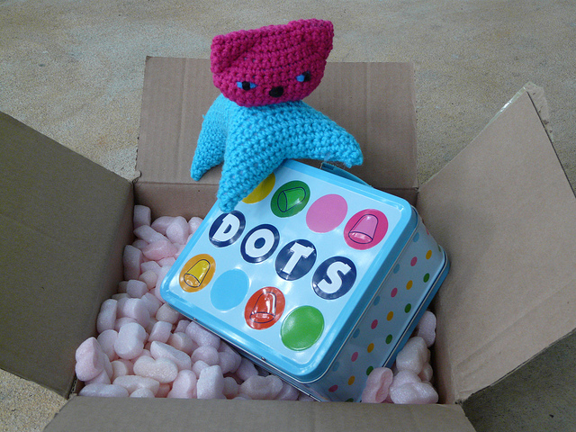 Dot the crochet cat gets into my mail