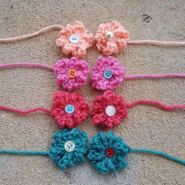 Eight six-petal crochet flowers
