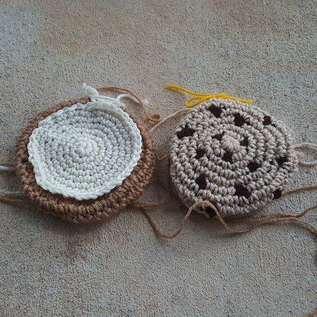 two crochet cookies for a crochet cookie scarf