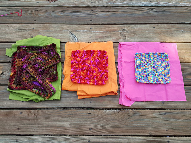 These future granny square bags with their respective linings are three of several projects I am working on