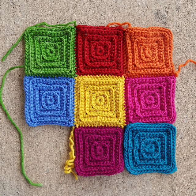 crochet squares with texture
