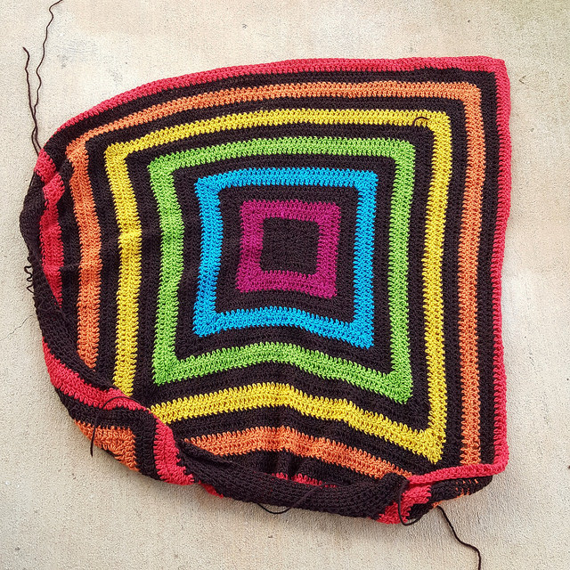 crochet granny square unfinished object