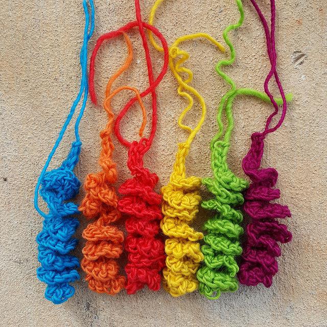 Six hyperbolic crochet curlicues