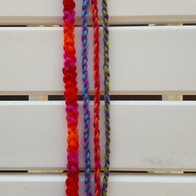 Four strands of a strap for a crochet purse strap