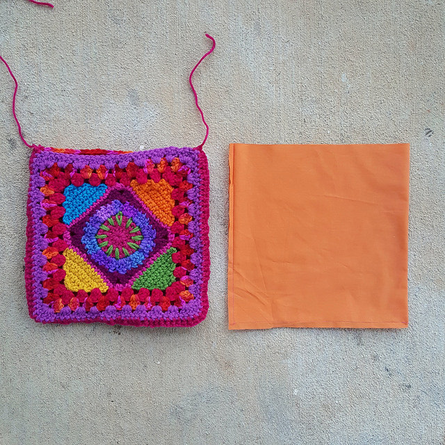a future crochet bag with a fabric lining