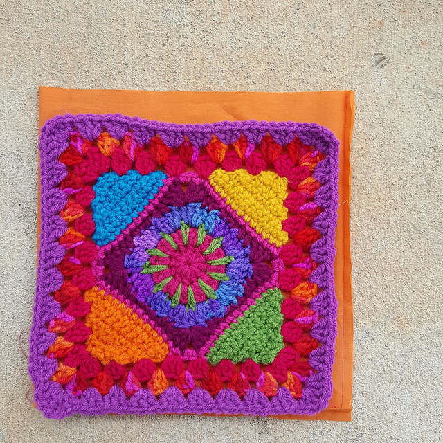 crochet granny square with fabric lining