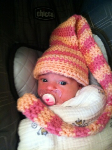 baby with a munchkin crochet hat
