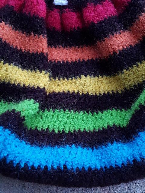 wool granny square fat bag felting process