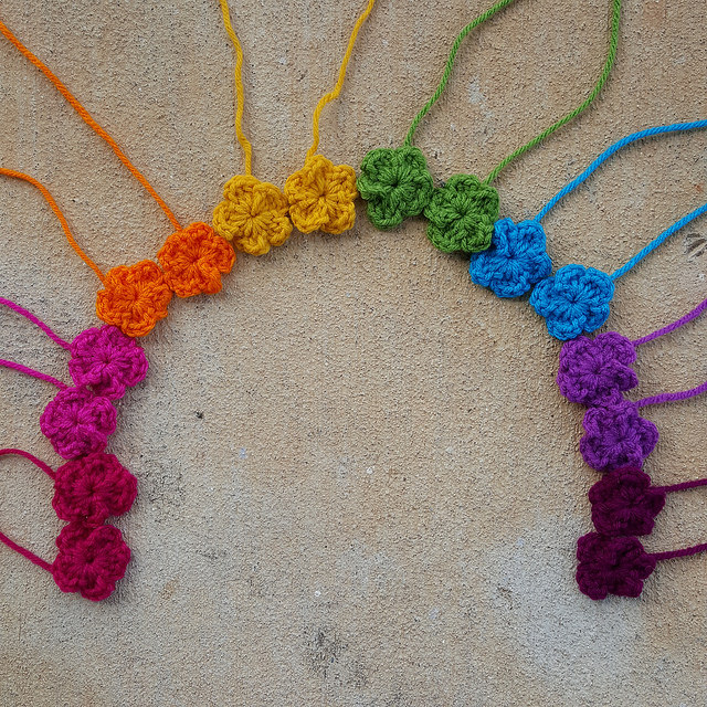 rainbow of crochet flowers